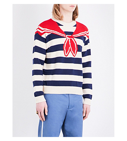 GUCCI Striped knitted cotton jumper (Blue white