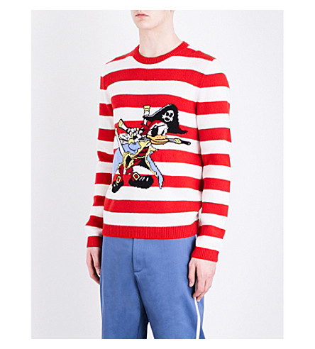GUCCI Striped Donald Duck wool jumper (Red white