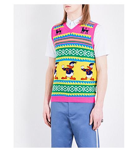 GUCCI Donald Duck-knit wool gilet (Multi