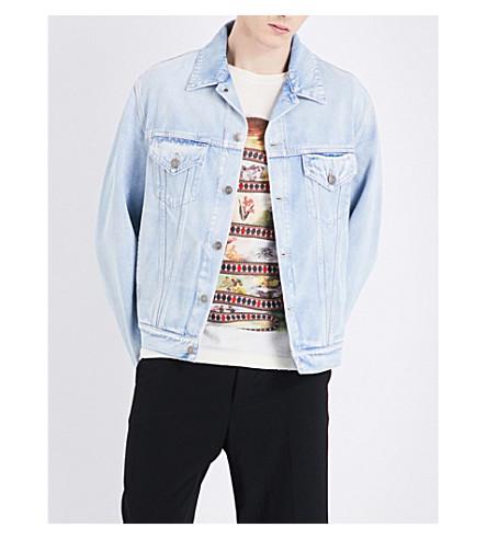 GUCCI Tiger-embroidered denim jacket (Blue