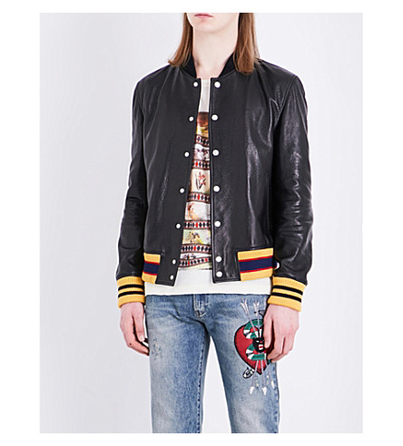 GUCCI Tiger-embroidered leather bomber jacket (Black
