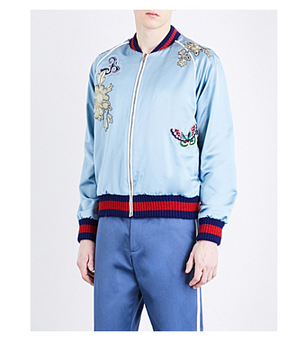 GUCCI Appliquéd and embroidered silk-satin jacket (Blue