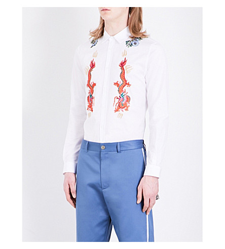 GUCCI Floral-embroidered regular-fit cotton shirt (White