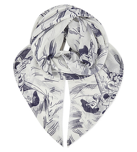 GUCCI Sea storm print scarf (Blue ivory