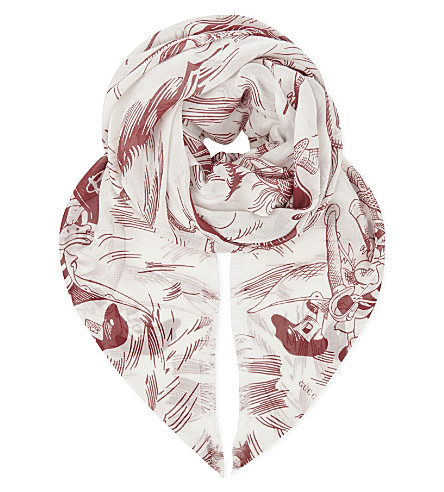 GUCCI Sea storm print scarf (Red ivory