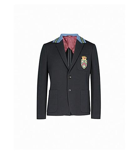 GUCCI Badge-embroidered slim-fit cotton-piqué jacket (Ink+bordeaux