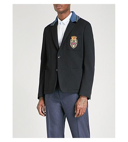 GUCCI Badge-embroidered slim-fit cotton-piqué jacket (Ink bordeaux