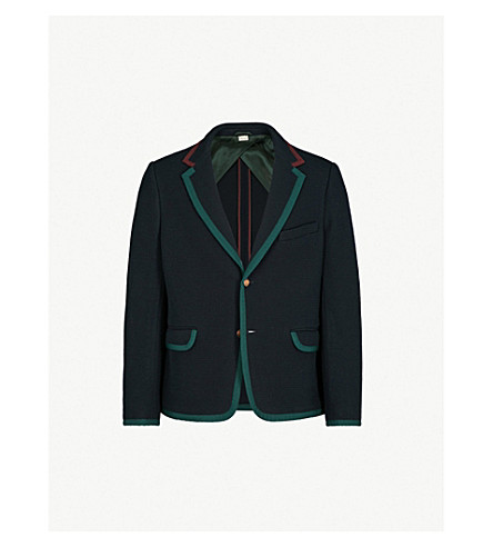 GUCCI Colour-block wool and cotton-blend jacket (Blue