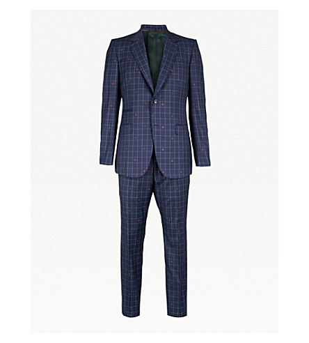 GUCCI New Marseille bee-motif checked regular-fit wool suit (Navy