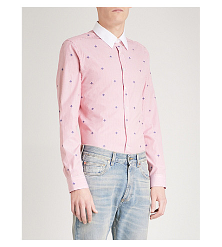 GUCCI Bee-embroidered regular-fit cotton shirt (Red+white