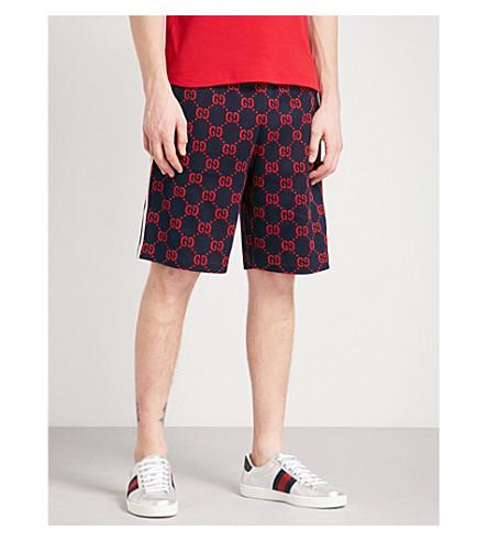 GUCCI Logo intarsia cotton-jersey shorts (Navy+red