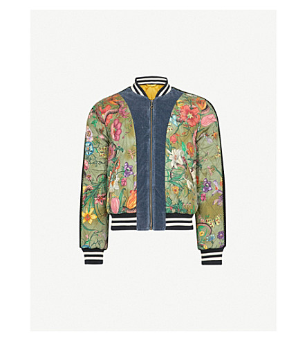 GUCCI Floral-print quilted satin bomber jacket (Green