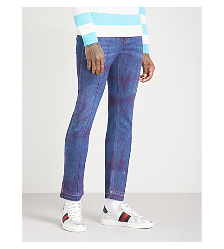 GUCCI Stained straight tapered jeans (Dark+blue+pink