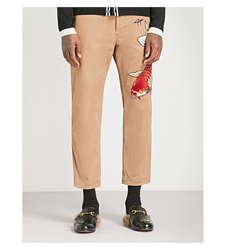GUCCI Fish-embroidered straight cropped cotton trousers (Beige