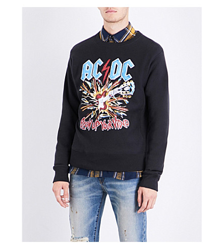 GUCCI AC/DC printed cotton-jersey sweatshirt (Black