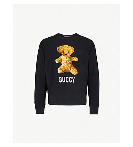 GUCCI Teddy-embroidered cotton-jersey sweatshirt (Black