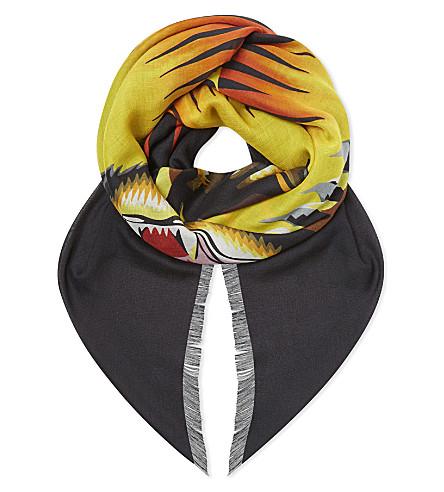 GUCCI Black sun modal and silk-blend scarf (Black+orange