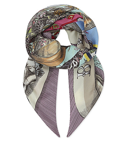 GUCCI Geometric silk scarf (Multi