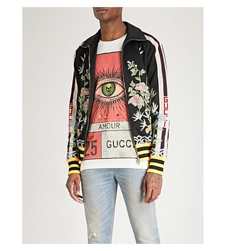 GUCCI Floral-embroidered sports-jersey jacket (Black