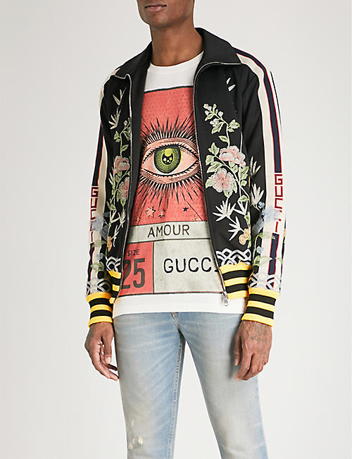 GUCCI Floral-embroidered sports-jersey jacket