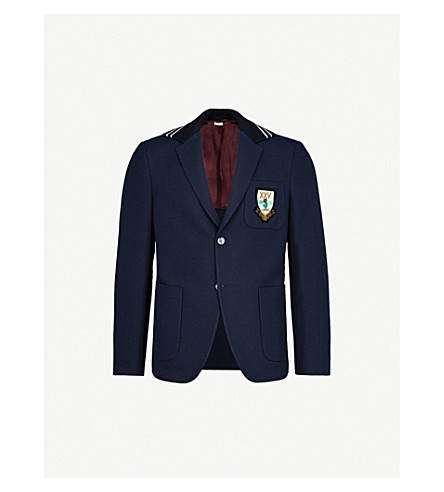 GUCCI Crest-embellished cotton-hopsack jacket (Navy