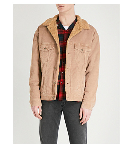 GUCCI Logo-embroidered corduroy and faux-sherpa jacket (Beige