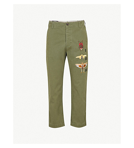 GUCCI Insect-embroidered cotton trousers (Military+green