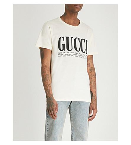 GUCCI Cities cotton-jersey T-shirt (Cream