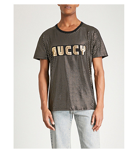 GUCCI Guccy-print metallic cotton-jersey T-shirt (Black