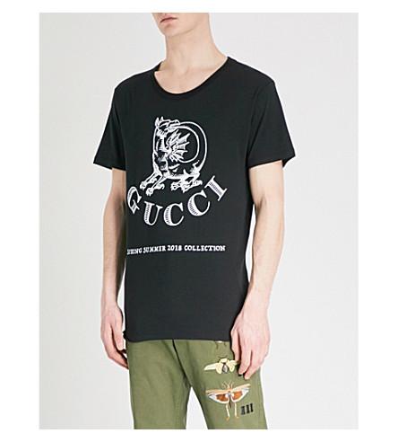 GUCCI Dragon-print cotton-jersey T-shirt (Black