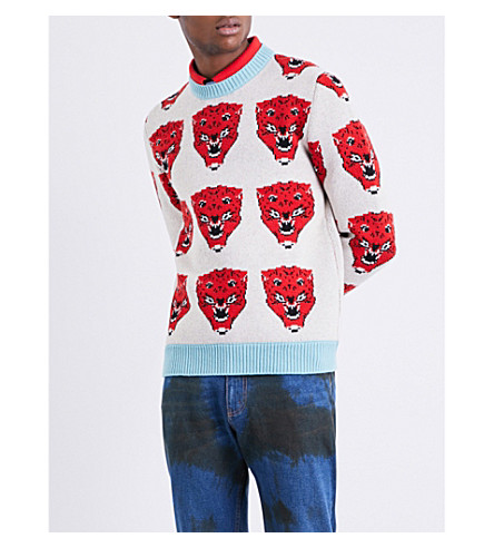 GUCCI Tiger-motif wool jumper (White+blue