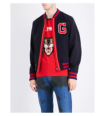 GUCCI G patch wool bomber jacket (Navy+red