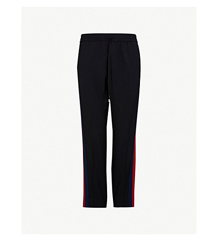 GUCCI Side-stripe wool-blend jogging bottoms (Black+red+blue