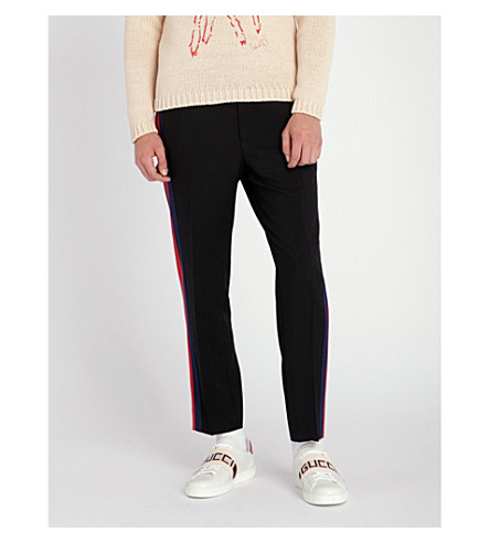 GUCCI Side-stripe wool-blend jogging bottoms (Black+red+blue
