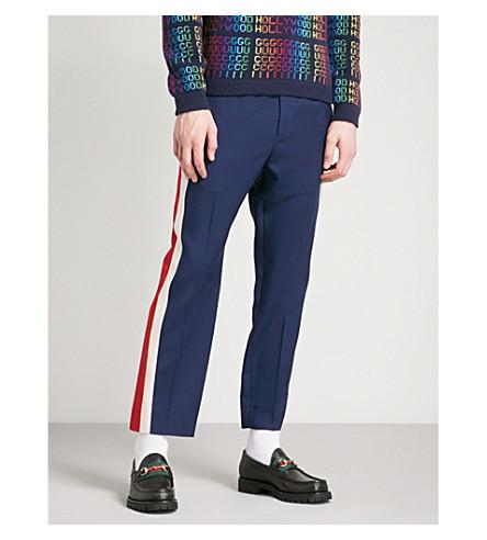 GUCCI Side-stripe wool-blend jogging bottoms (Blue+red+white