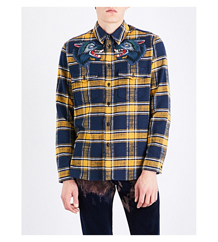 GUCCI Wolf-embroidered regular-fit cotton-flannel shirt (Blue+yellow