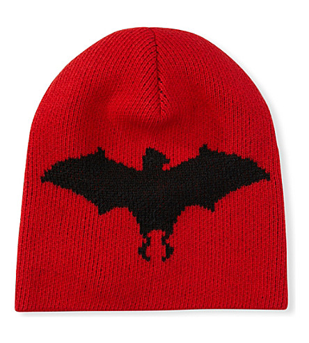 GUCCI Bat wool and alpaca-blend beanie (Red