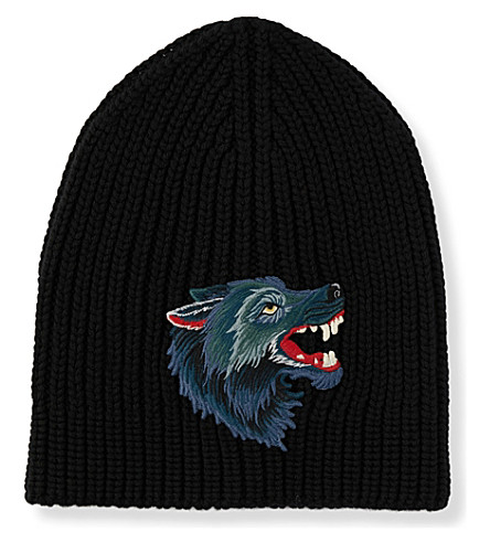 GUCCI Wolf-appliqué wool beanie (Black