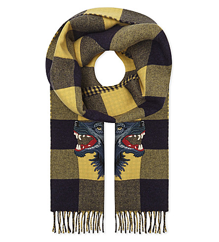 GUCCI Wolf wool and cashmere-blend scarf (Yellow+blue
