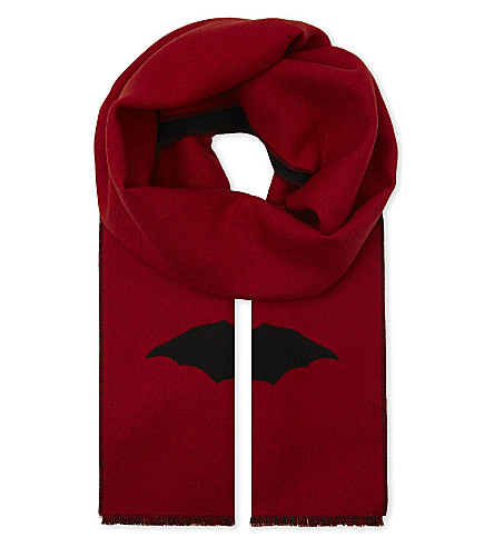 GUCCI Bat wool scarf (Red