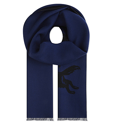 GUCCI Wool scarf with wolf jacquard (Blue