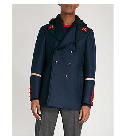 GUCCI Detachable hood wool peacoat (Navy