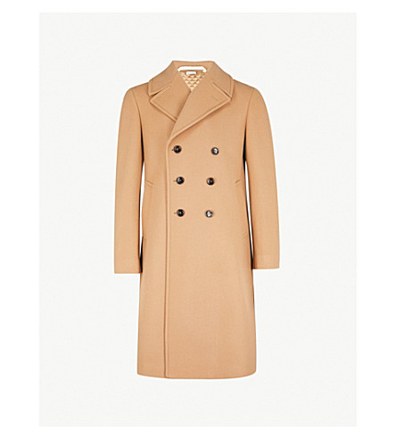 GUCCI Dragon embroidered wool and cashmere-blend coat (Camel