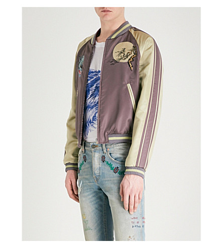 GUCCI Wolf-embroidered reversible satin and jacquard bomber jacket (Grey
