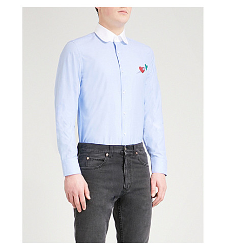 GUCCI Heart motif tailored-fit cotton-poplin shirt (Blue