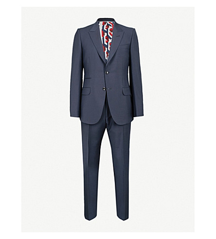 GUCCI Patterned-lining tailored-fit mohair and wool-blend suit (Navy
