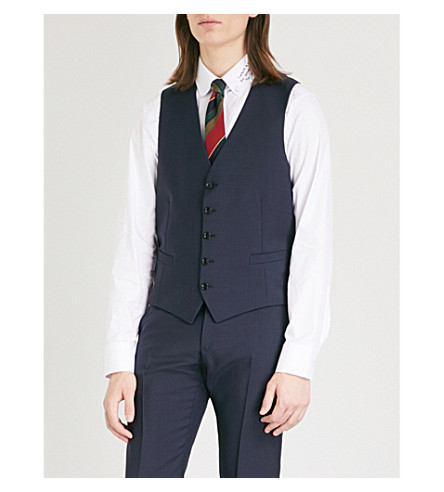 GUCCI Geometric-print mohair and wool-blend waistcoat (Navy
