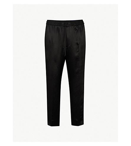 GUCCI 侧条纹缎布裤子 (黑色