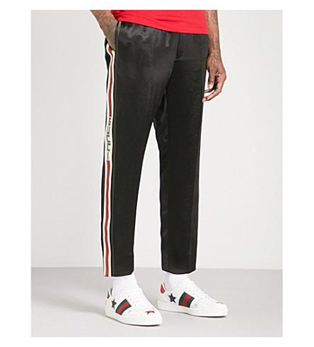 GUCCI Side-stripe satin trousers (Black