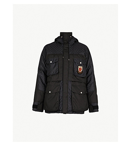 GUCCI Logo-jacquard quilted feather and down-blend jacket (Black